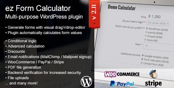 ez Form Calculator v2.11.0.1 – WordPress plugin