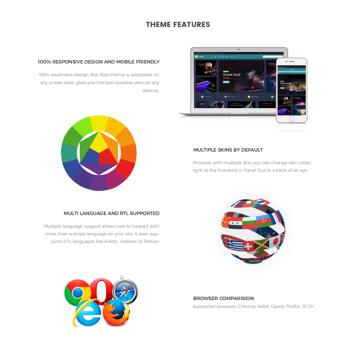theme features - Bos Atari - Gaming Prestashop theme