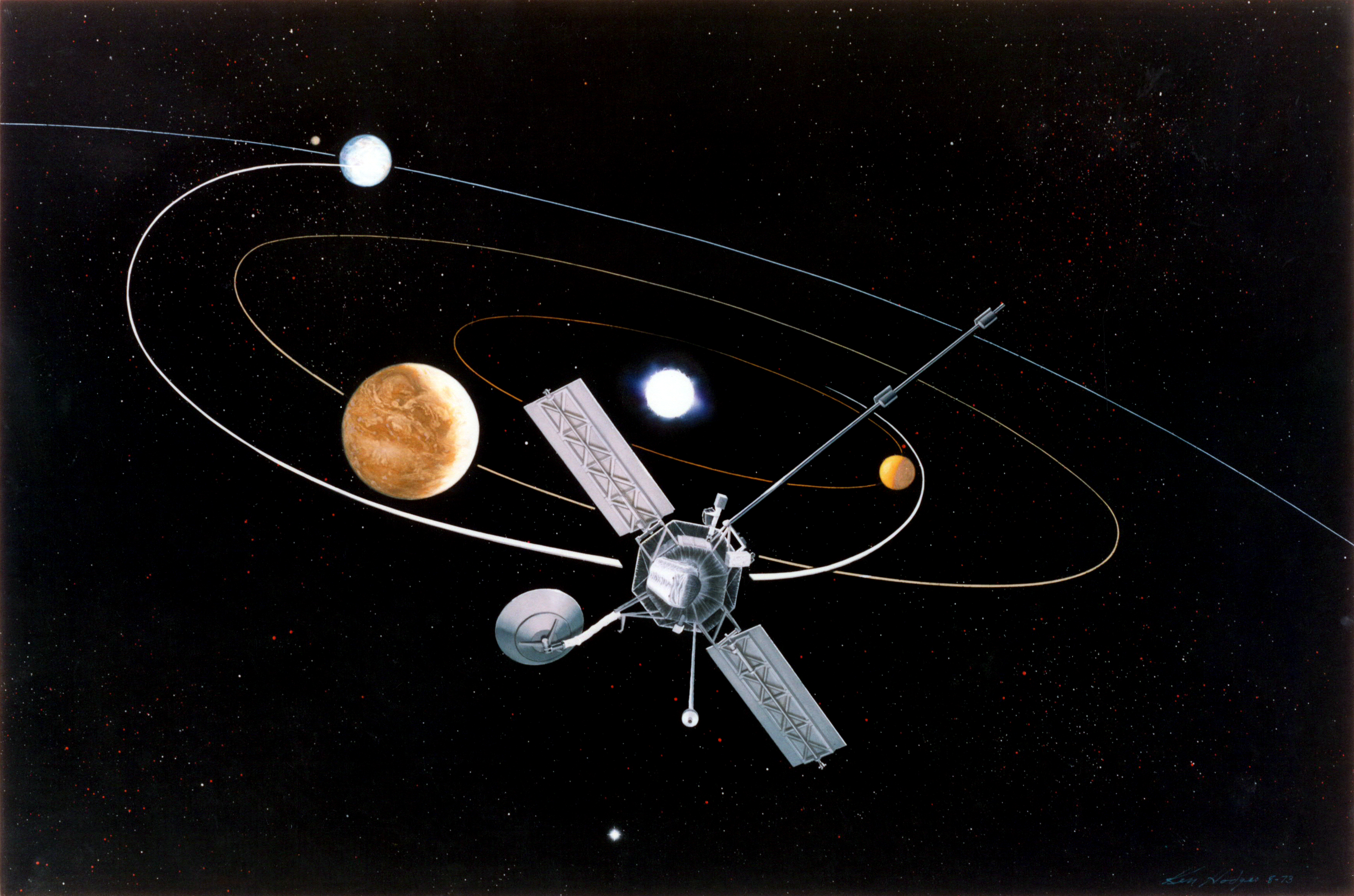 Artists' impression of the Mariner 10 mission. The first mission to perform a gravity assist, it used a flyby of the planet Venus in order to decrease its perihelion. This would allow the spacecraft to meet Mercury on three occasions in 1974 and 1975.