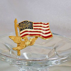 Flag Brooch. USA Flag Brooch. Vintage Brooch. American Eagle Flag Pin. American Flag Brooch. Patriotic Pin. Jewelry for Women. waalaa