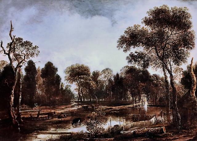Photo:IMG_1108EA Aert Van der Neer 1603-1677 Amsterdam Paysage de rivière boisée Wooded river landscape 1645 Madrid  Musée Thyssen Bornemisza By jean louis mazieres