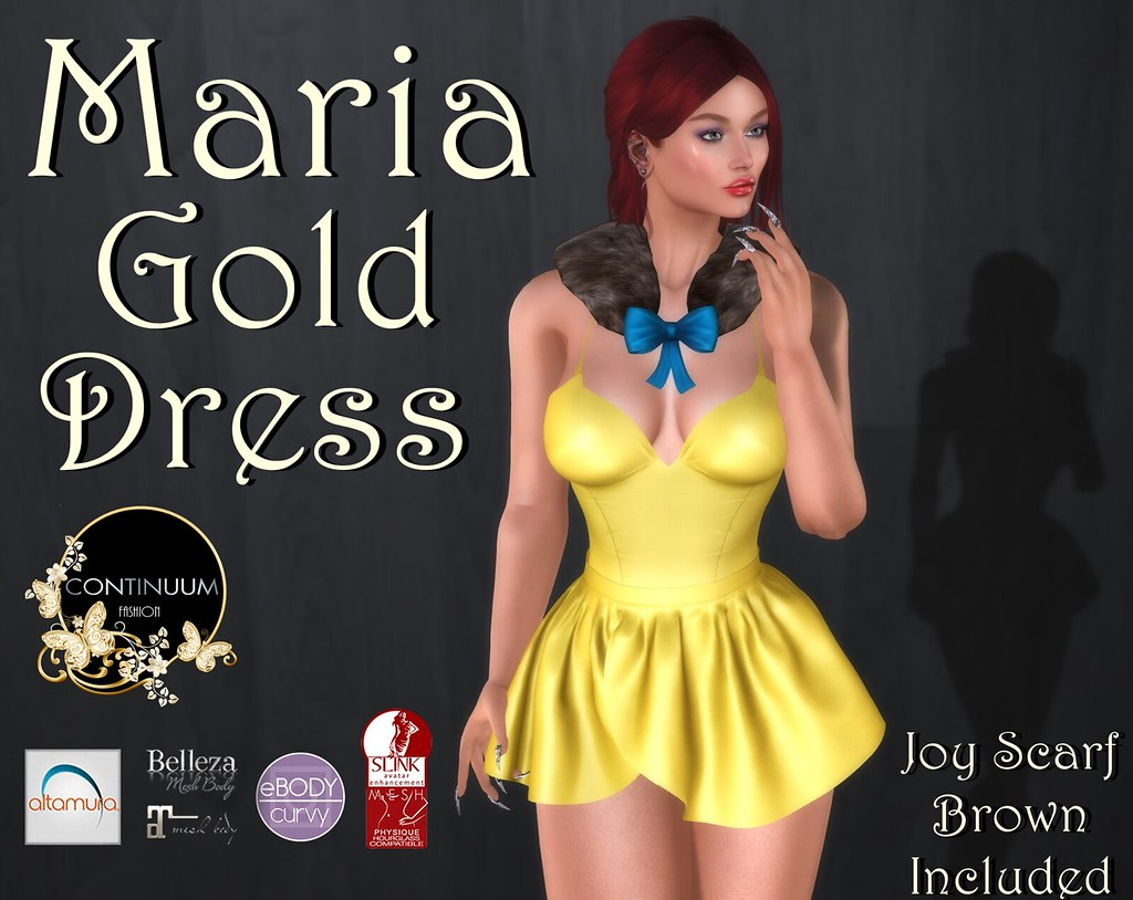 Continuuum Maria Gold Dress with Scarf - GROUP GIFT - TeleportHub.com Live!