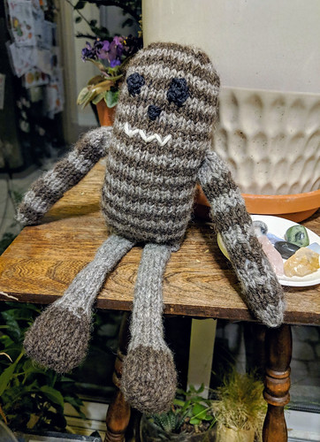 Handspun BFLxShetland knitted monster toy by irieknit