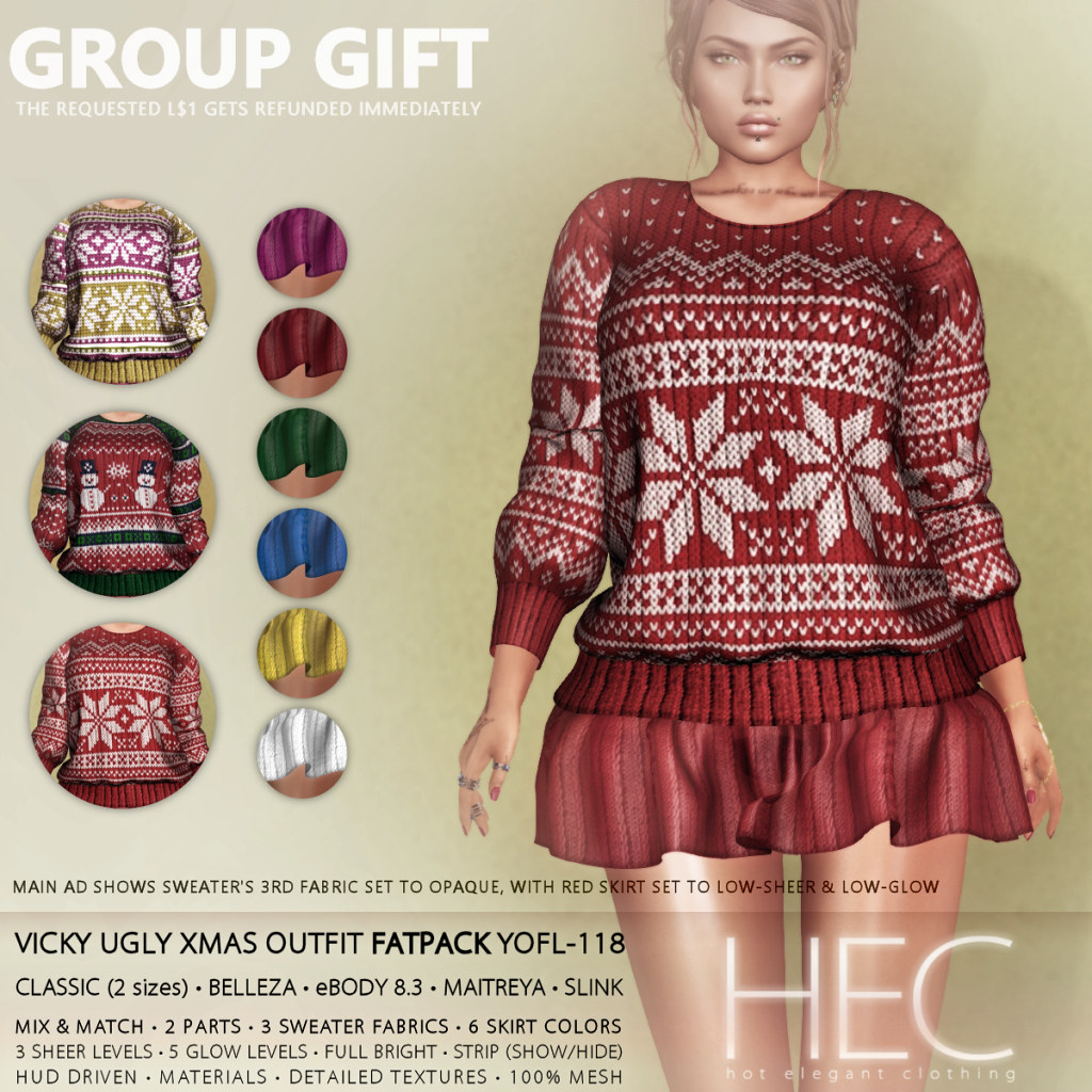 HEC (GROUP GIFT) • VICKY UGLY XMAS OUTFIT FATPACK YOFL-118