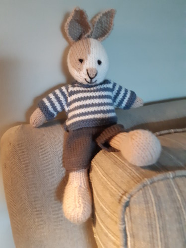 Carola's Billy Bunny is finished! Isn't he sweet? Patter is Boy Bunny by Julie Williams