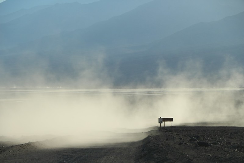 Dust clouds from another driver on the West Side Road in Death Valley