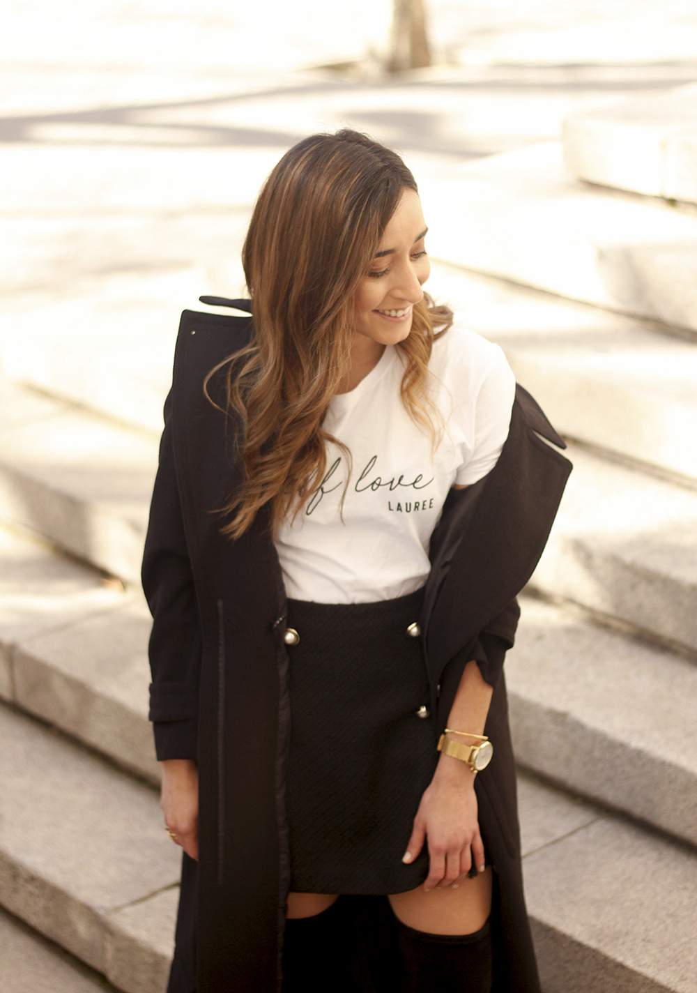 tweed skirt over the knee boots black trench coat street style outfit 20194