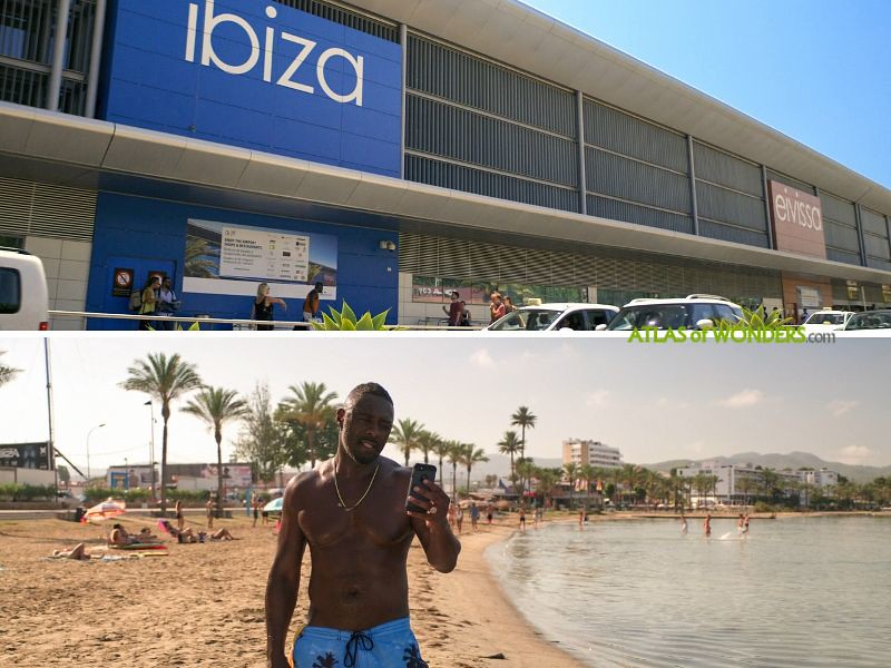 Eivissa terminal and beach scene