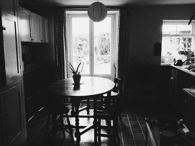 granny and grandad's house, black and white photograph, kitchen dining table
