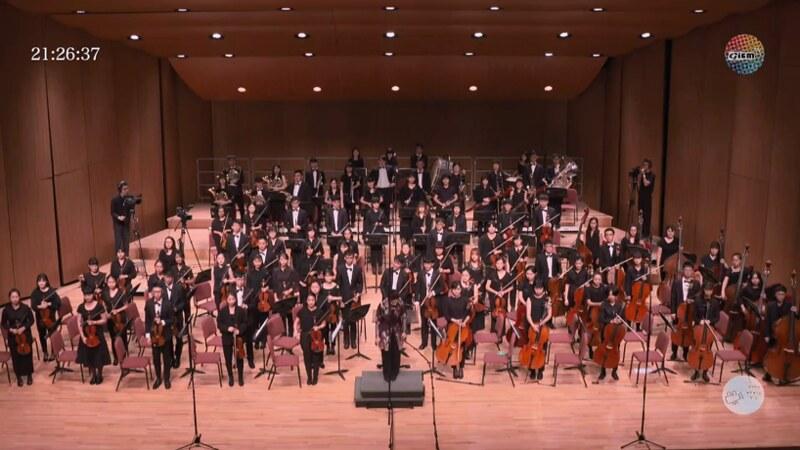 師大交響樂團全體團員向觀眾致謝。圖/YouTube直播