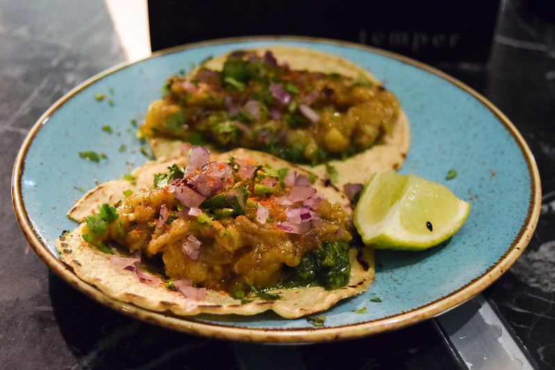 Burnt Aubergine Tacos at Temper, Covent Garden
