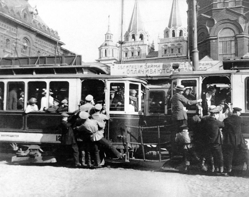 1918. Переполненный трамвай в Москве, 9 сентября