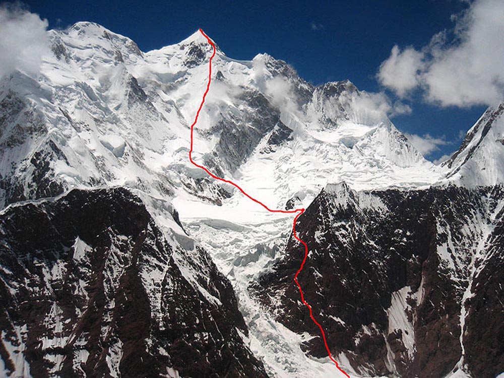 Ascent route of the first Gasherbrum II north face ascent.