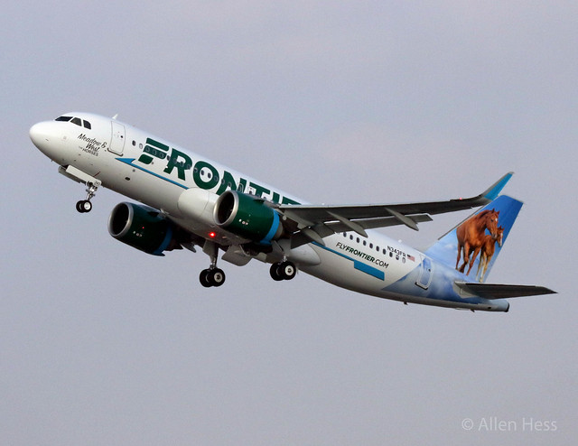 "N343FR Frontier Airlines, Airbus A320 ""Meadow & West the Horses"".....2018-1218-031"