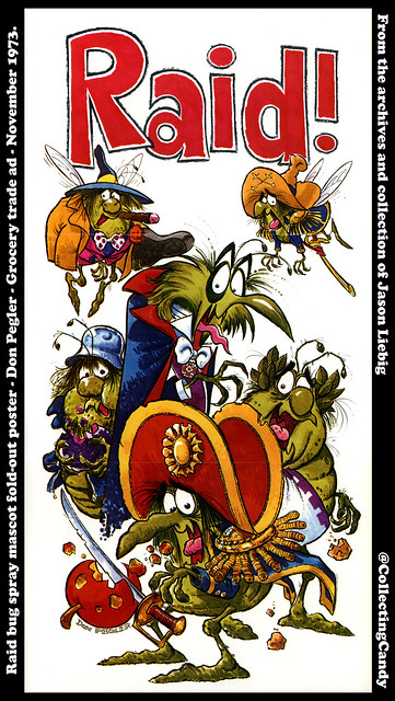 Raid bug spray mascot fold-out poster -Don Pegler - Progressive Grocer November 1973