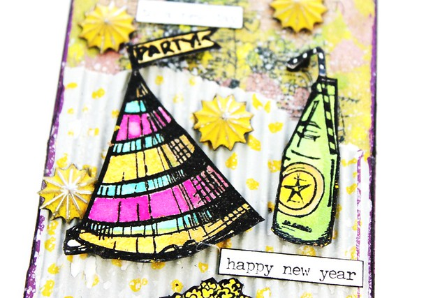 Meihsia Liu Simply Paper Crafts Mixed Media Tag New Year Party Simon Says Stamp Tim Holtz 3