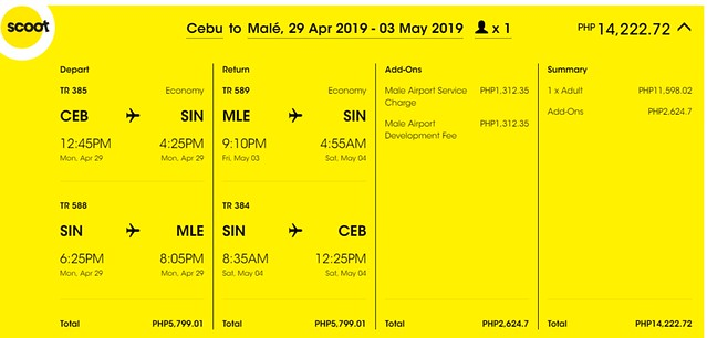 Scoot Cebu to Maldives Roundtrip Promo