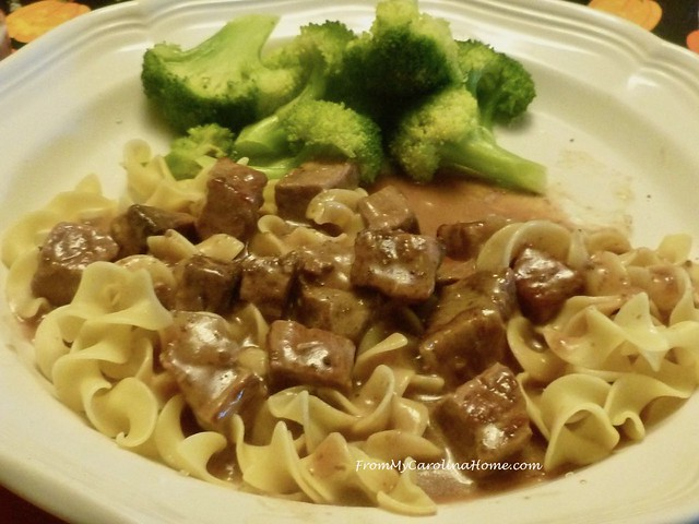 Slow Cooker Beef Tips at FromMyCarolinaHome.com