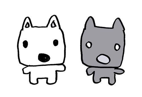 おぼつかない黒目の犬と白目の犬