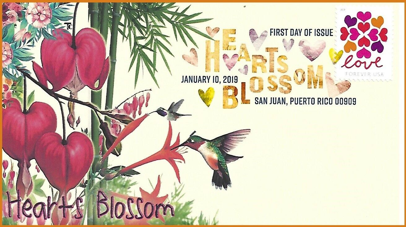 United States - Hearts Blossom (January 10, 2019) first day cover, digital color postmark, unofficial cachet