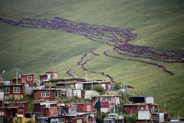 Hundreds of nuns coming back from an retreat ceremony, Tibet 2018