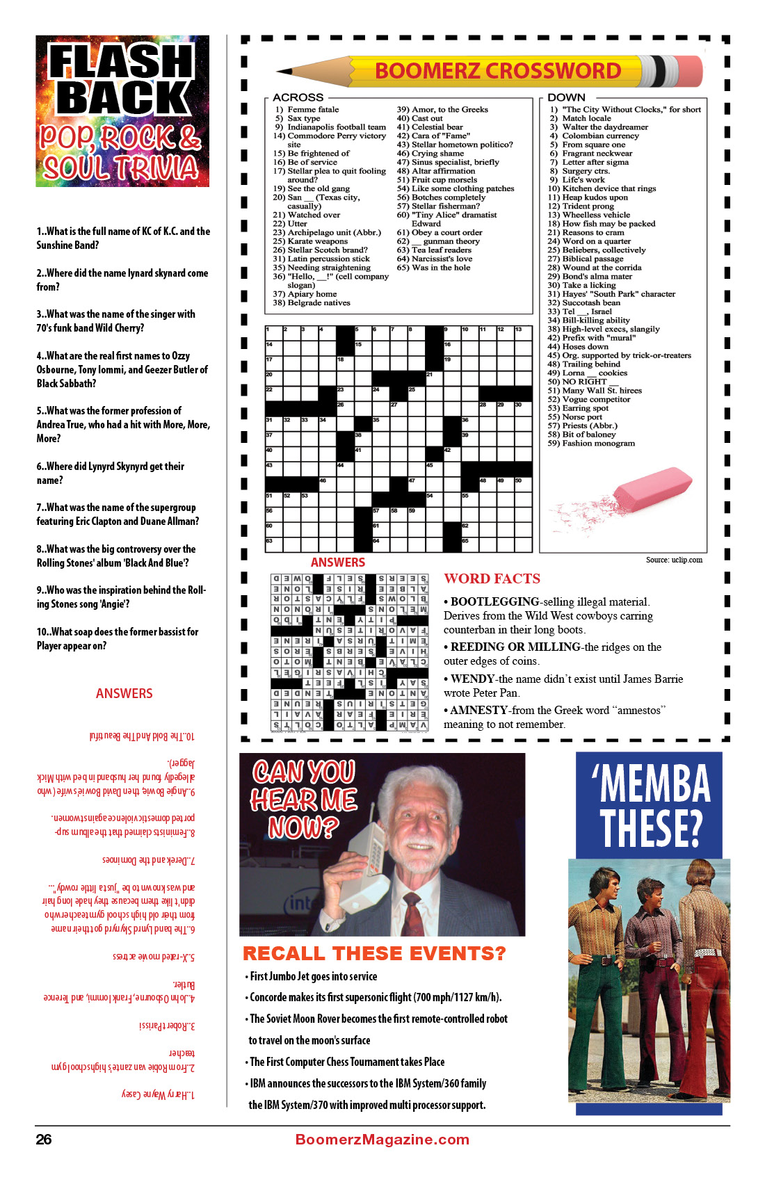 2018 October Boomerz-Magazine Page 26 Flash-Back-Pop-Rock-&-Soul-Trivia-Crossword
