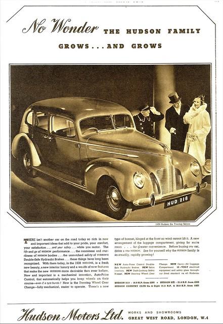 1939 Hudson Six Touring Sedan (U.K. Ad)