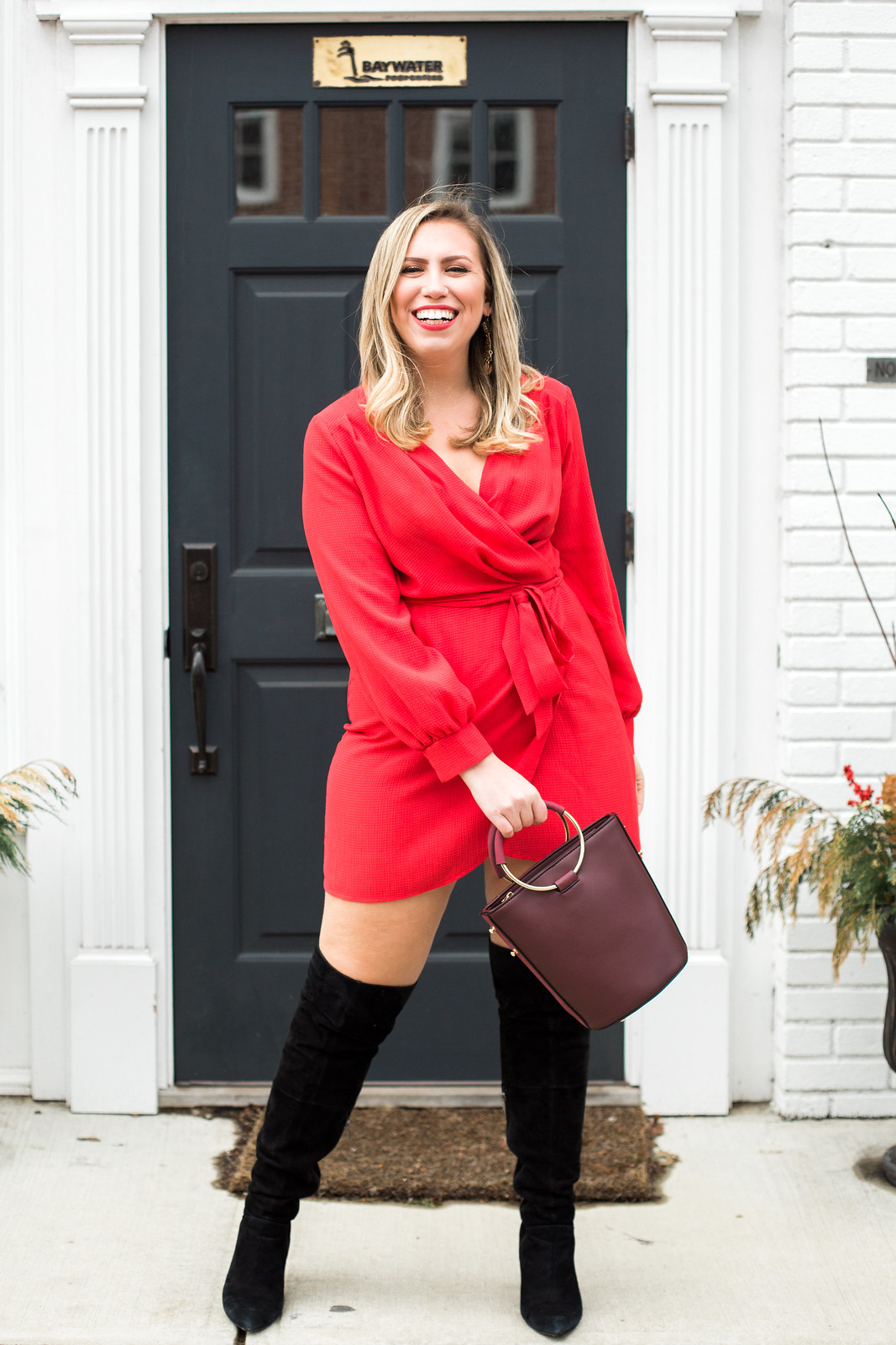Red Wrap Dress Black Suede Over Knee Boots | Darien, CT Kristina Staal Photography
