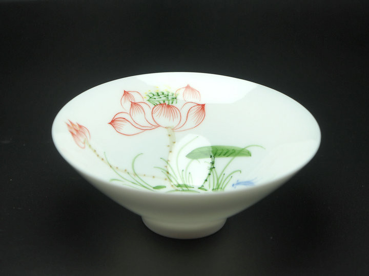 Tea Ware Wide Mouthed Cup White Porcelain Lotus Flower