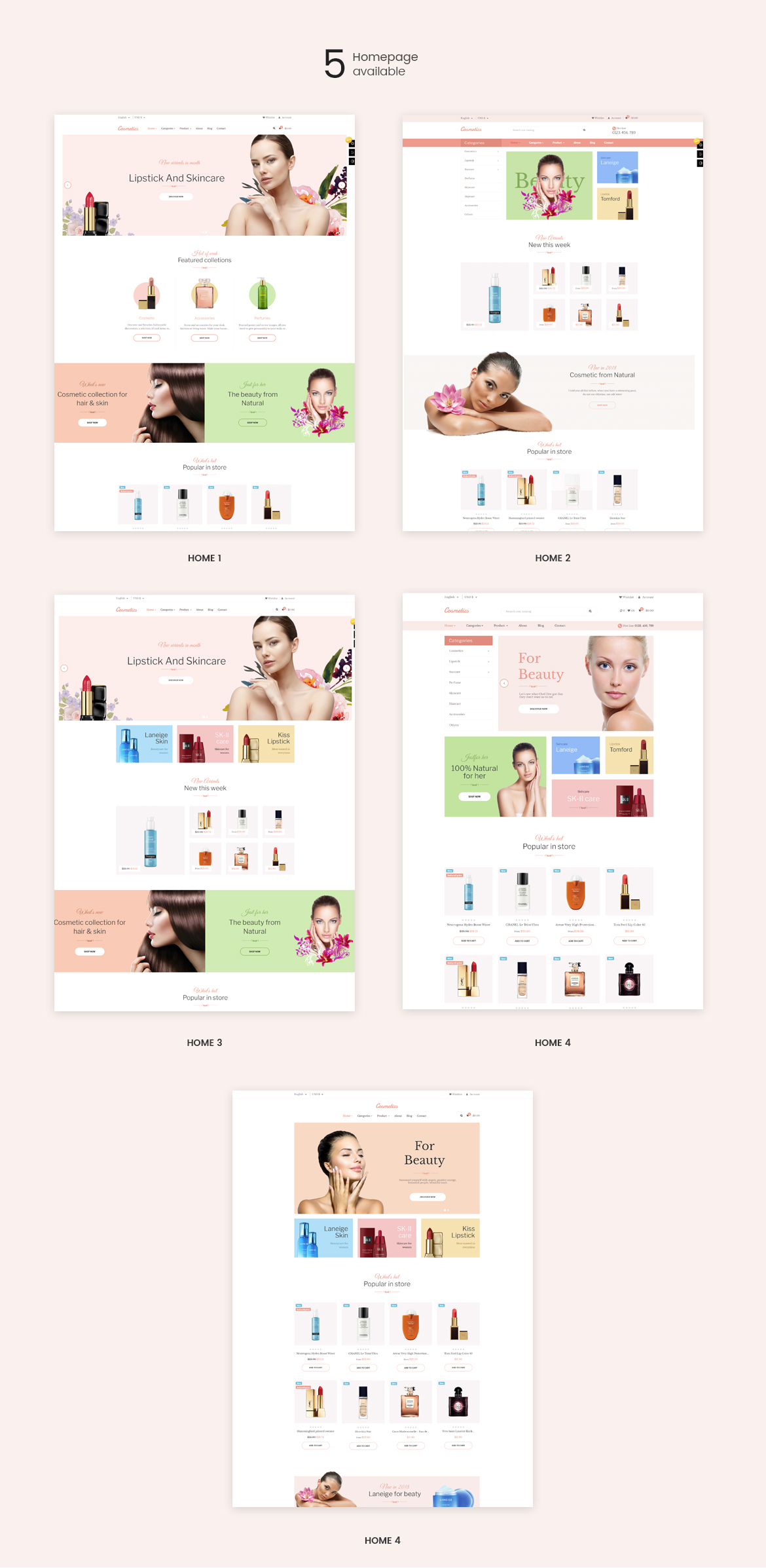 5 homepages - Cosmetic and Beauty Store - free install support