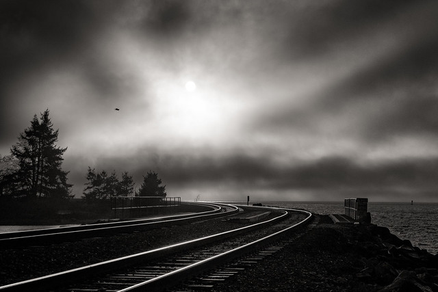 Curve tracks and sky, Nikon D500, AF-S Zoom-Nikkor 28-70mm f/2.8D IF-ED