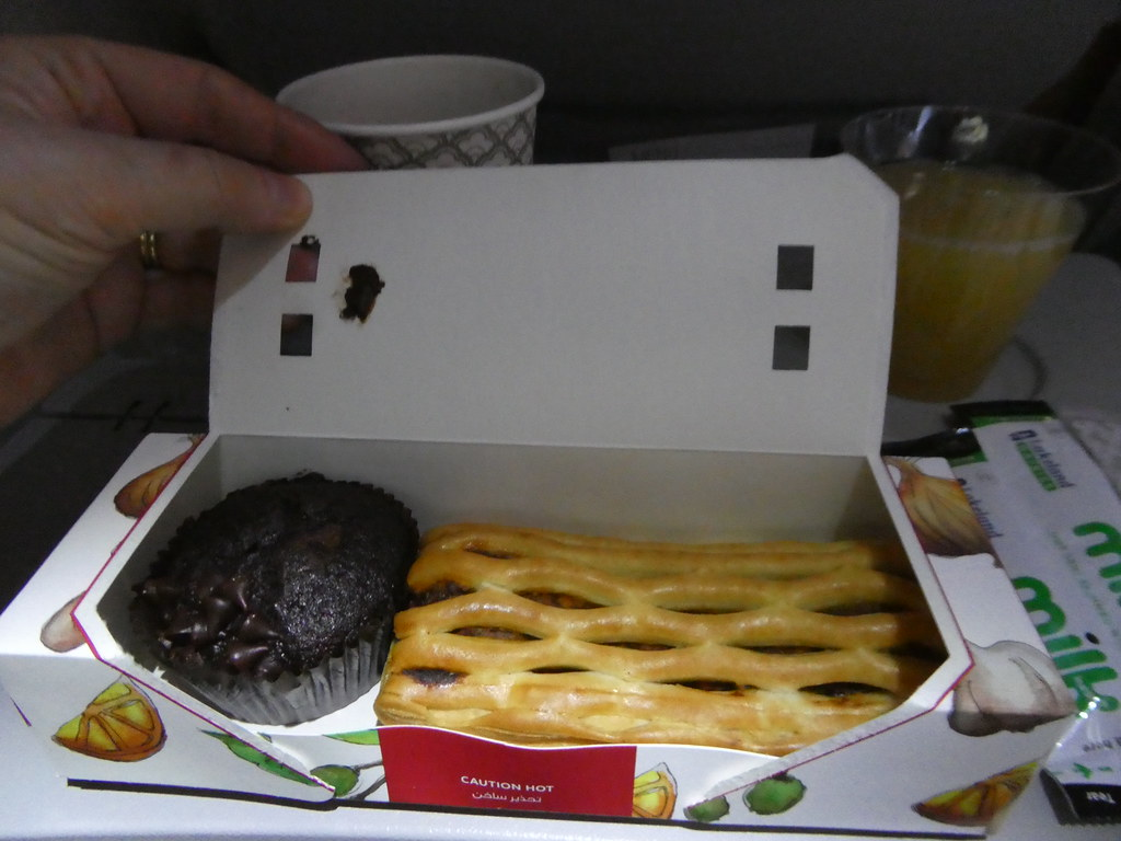 Snack meal served on Qatar Airways between Doha and Kuala Lumpur