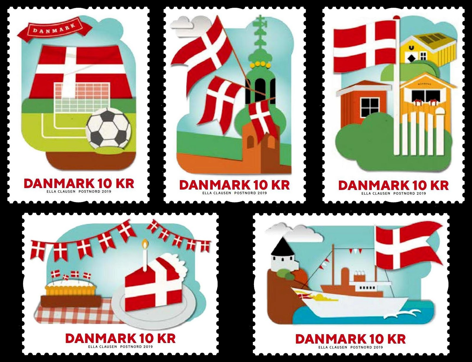 Denmark - Danish National Flag (January 2, 2019) - image from Gulfman Stamps World blog