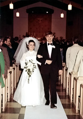 1971-03-20 Bonnie and Jim after exchanging their vows at Saint Phillips Catholic Church, Camp Springs, Maryland