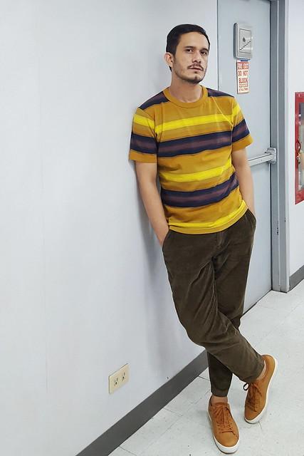 halfwhiteboy - striped shirt and corduroy pants 04