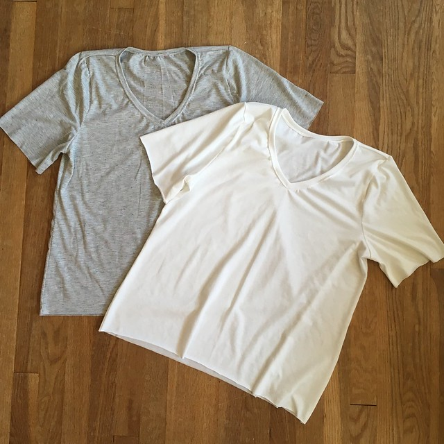 Two V-Neck Grainline Lark Tees