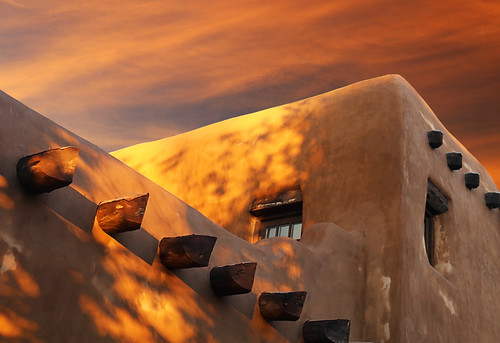 architecture art beauty bright building colorful colourful colors colours contrast dark design detail downtown edge light lines perspective pattern pretty scene shadow sky southwest study street texture tone world adobe stucco viga window sunset santafe newmexico