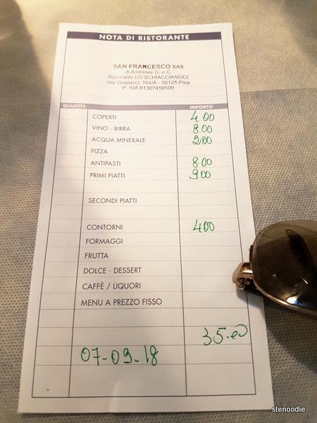 Ristorante Lo Schiaccianoci receipt