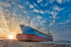 The stranded freighter Sunset Crepuscular Ray