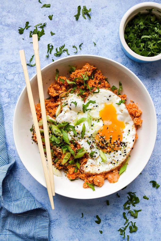 Kimchee Cauliflower Fried Rice with a Sesame Fried Egg