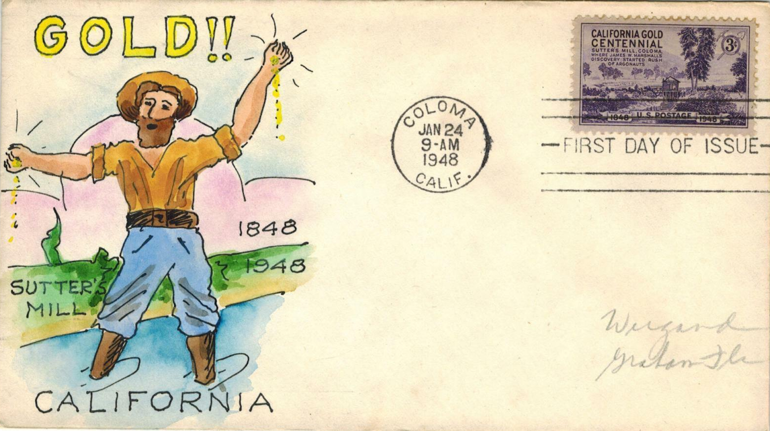 United States - Scott #954 (1948) first day cover, Coloma CA postmark