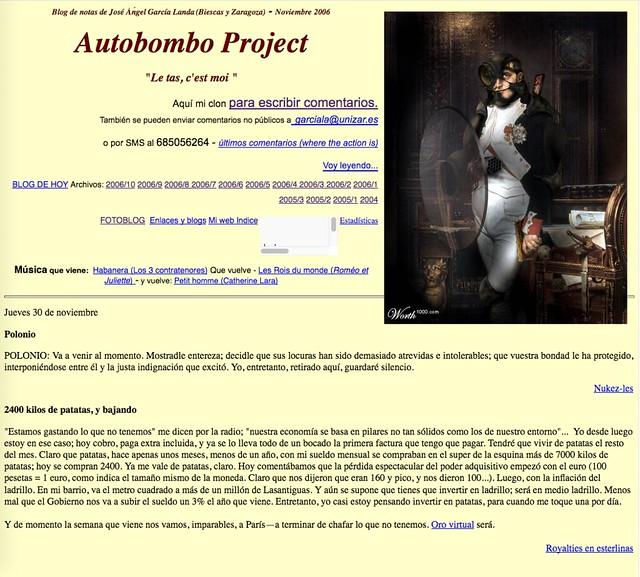 Autobombo Project: Blog de notas de noviembre de 2006