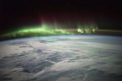 Aurora image over Canada on Jan. 21, 2016. Original from NASA. Digitally enhanced by rawpixel.