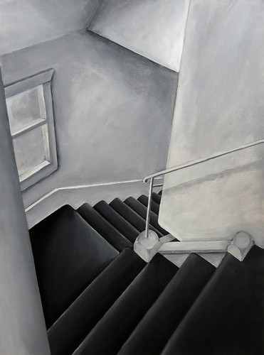 Acrylic monotone of the stairs; an assignment on painting an image with a single light source