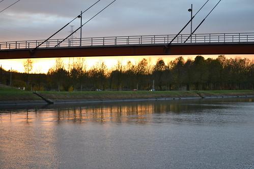 Footbridge over the canal at Ville-sur-Haine, near Mons.
