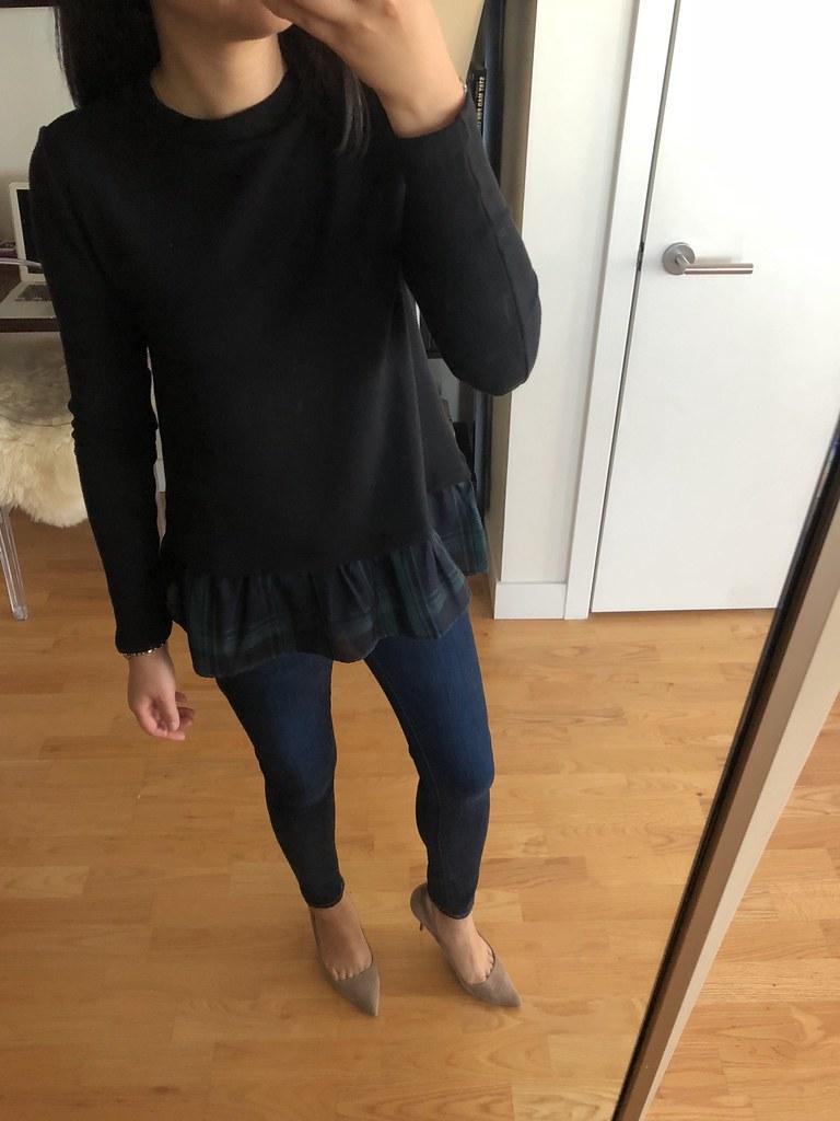 LOFT Plaid Flounce Sweatshirt, size XSP