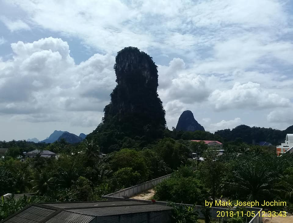 View to the south from Ban Thai Chang School, Muang Phang Nga, Thailand