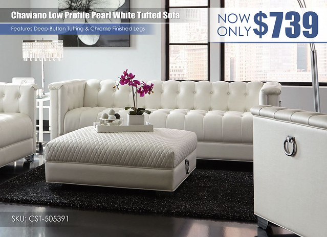 Chaviano low profile Pearl White Sofa_505391