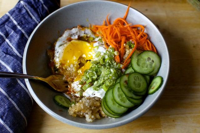 crispy rice, crispy egg bowl