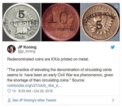 Redenominated coin tweet